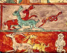 Buchmalerei mozarabisch - Arche Noah / Beatus Gerona x cm) Medieval Art, Illuminated Manuscript, Romans, Rooster, Goth, Painting, Detail, Nature, Animals