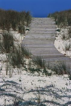 The view is defined by endless beach, surrounding sand dunes, and the white surf of the Atlantic.