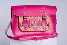 "12.5"" Handmade Dayglow Orange, Pink, or Blue Bespoke Satchel Bag... Unique iPad Holder/Cover. £235.00, via Etsy."