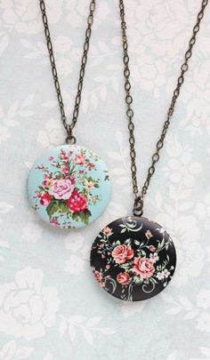 Floral Locket Necklace Aqua and Pink Floral Pattern Summer Boho Chic Flower Photo Locket Pendant Womens Fashion Romantic Country Chic