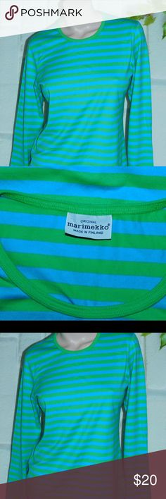 """Marimekko Long Sleeve  Cotton Tee Made In Finland New, Marimekko Made in Finland Tee Large .Long Sleeve, crew neck, super soft cotton.  Turquoise and apple green stripe.   Shoulder to shoulder 17""""  Underarm to underarm to 20"""" flat x 2,  Waist to 18"""" flat x 2, Hips to 20"""" flat x 2 Marimekko Tops Tees - Long Sleeve"""