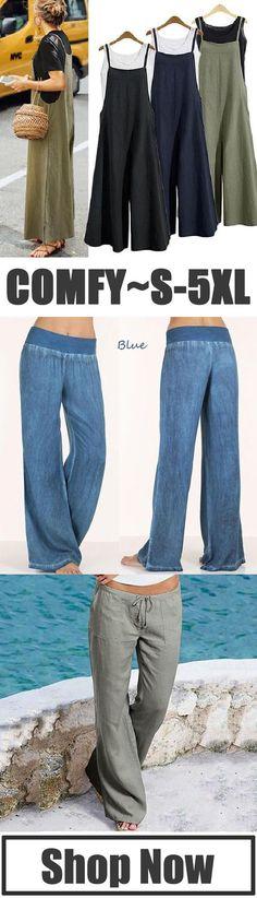 Women Plus Size Comfy Loose Pants Look Fashion, Fashion Outfits, Womens Fashion, Fashion Ideas, Comfy Pants, Women's Pants, Cargo Pants, Loose Pants, Look Chic