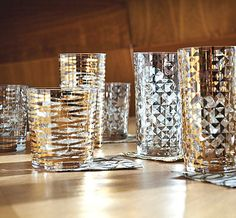 Interesting Festive Barware for Fall Entertaining: Drinking Glasses With Gold And Silver Details ~ CHUCKFERRARO Furniture Inspiration
