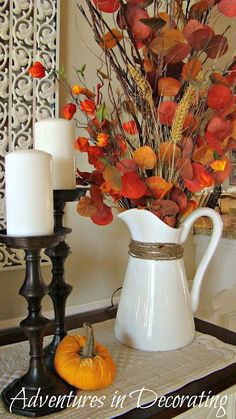 Autumn pop of color with white pitcher and candles Home Meals, Autumn, Cottage, Vase, Mugs, Table Decorations, Tableware, Color, Furniture