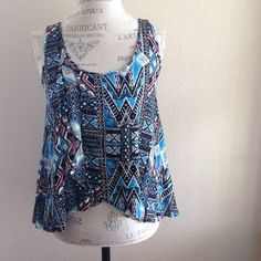 """NWOT """"Blueprints"""" tank top Adorable loose fit tank top. Front is cross layered Boutique Tops Tank Tops"""