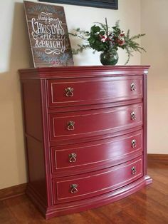 Annie Sloan Burgundy red .sser handpainted with German silver gilding wax. Great accent piece. Www.facebook.com/ditsydecor