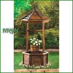 New: Wooden Wishing Well Planter Garden Yard Patio Decor Outdoor Flower Pot
