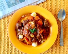 """Julia Child's Beef Bourguinon (or Boeuf Bourguinon) is a classic. This recipe is slightly adapted from the cookbook, """"Mastering the Art of French Cooking""""."""