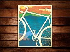 Are you a bike fan? Do you love bicycle art? Are you a fan of fine art prints?  This is a high quality print of digital artwork created in a style to look like a natural print. The lush colors, lightely distressed textures and clean lines evoke a letterpress and watercolor feeling.  This poster was created for the Spokes & Ink Bicycle Festival in Rochester, New York - a celebration of both art and bicycles. I sold many of these prints at the show! The mountain and view are of the…