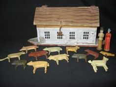 ANTIQUE 19TH CENTURY GERMAN ERZGEBIRGE WOOD NOAHS ARK FOLK ART TOY W/ ANIMALS on eBay!
