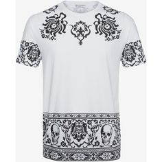 Alexander McQueen Skull T-shirt ($445) ❤ liked on Polyvore featuring men's fashion, men's clothing, men's shirts, men's t-shirts, white, alexander mcqueen men's t shirt, mens leopard print t shirt, mens jersey shirts, mens skull shirts and mens crew neck t shirts