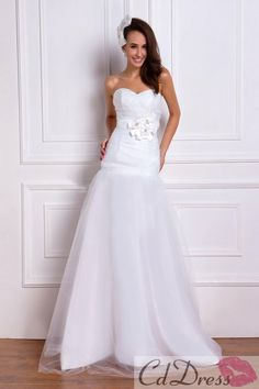 Charming A-line Sweetheart Taffeta and Tulle Floor-Length Beach Wedding Dress