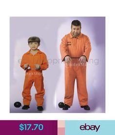 c2e6ea91f1ca Men s Costumes Men Boys Orange Offender Prisoner Costume Jailbird Overall  Jumpsuit Fancy Dress