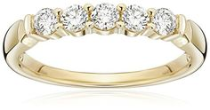14k Yellow Gold 5-Stone Round Diamond Anniversary Band (1/2 cttw, IJ Color, I1-I2 Clarity), Size 8 Amazon Collection