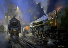 A magnificient gathering of West Coast motive power at Camden shed yard in 'Duke Of Gloucester' keeps company with two Stanier 'Princess Coronation' Pacifics No's 46233 'Duchess Of Sutherland' and 46229 'Duchess Of Hamilton'. - Philip D Hawkins Train Posters, Railway Posters, Train Drawing, Steam Art, Old Steam Train, Nostalgic Art, Steam Railway, Bonde, Train Art