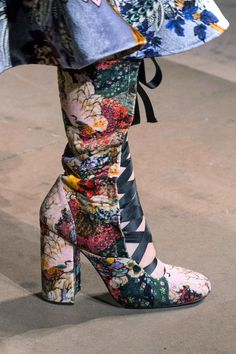 Erdem | Floral lace up booties done up in velvet added the perfect touch of romance to Erdem's runway. -  HarpersBAZAAR.com