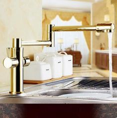 Antique Golden Printed Brass 360° Rotatable Foldable Kitchen Mixer Tap TG218S