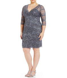 Marina Plus Beaded Lace Dress dillards