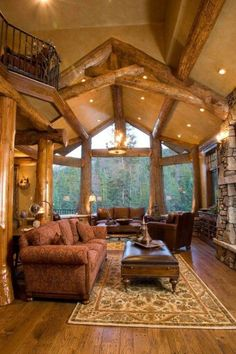 47 Extremely cozy and rustic cabin style living rooms - Haus Dekorations Log Cabin Living, Log Cabin Homes, Home And Living, Living Rooms, Log Cabins, Living Area, Style At Home, Estilo Colonial, Passion Deco