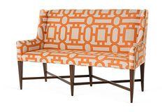 One Kings Lane Furniture Catalog   Alcott Banquette, Tangerine   Pearson   One Kings Lane