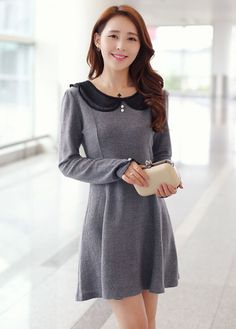 Fashion Peter Pan Collar Long Sleeve Dress -