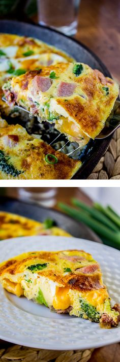 Cheesy Ham and Broccoli Frittata from The Food Charlatan. This frittata is stuffed with chunks of ham, tender broccoli and pockets of cheddar cheese. It is completely irresistible for breakfast, lunch or dinner!