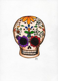 Local Color pen and ink illustration original sugar skull with flowers | amyelyseneer - Illustration on ArtFire