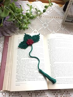 Crochet Bookmark Christmas Bookmark Holly with Berries