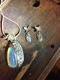 Sterling silver & opal rolled butterfly pendant & stud earrings Butterfly Pendant, Hand Designs, Opal, Lisa, Handmade Jewelry, Copper, Stud Earrings, Pendant Necklace, Sterling Silver