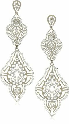 """LK Designs """"Summer Breeze"""" Shiny Silver and White Colored Hanging Earrings LK Designs. $86.99. Very lightweight long white crystal earring with a shiny silver color finish. Made in Israel. White crystal and comet studded laser-cut design earrings. Save 52% Off!"""