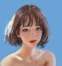 ideas for painting art portrait pictures Female Face Drawing, Woman Drawing, Pretty Art, Cute Art, Art Sketches, Art Drawings, Drawing Art, Realistic Drawings, Digital Art Girl