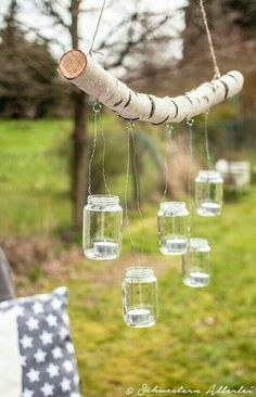 DIY branch chandelier www.schwestern-al .- DIY Ast Kronleuchter www.schwestern-al… DIY branch chandelier www.schwestern-al … - Backyard Lighting, Outdoor Lighting, Lighting Ideas, Wedding Lighting, Outdoor Candles, Outdoor Chandelier, Event Lighting, Outdoor Decor, Ideas Terraza