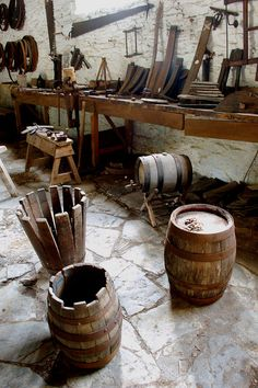 The SMOKE & OAKUM MANUFACTORY uses a small number of 'sixtel' barrels to produce the annual release of 'HEART of OAK' Gunpowder Rum. These are made in NZ's only true cooperage and are made from new French oak. They are really quite lovely to look upon, particularly when filled with rum. (Photo: cooper's workshop, Morwellham, Quay, Devon.)