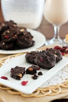 Super Healthy Double Dark Chocolate Cranberry Cookies with Brazil Nuts  Gluten Free, Grain Free, No Sugar Added, Paleo Friendly