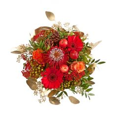 """Pflanzen-Kölle Weihnachtsstrauß """"Zauberhaft"""".  Rot-orange Blütenpracht, ideal als Mitbringsel oder liebevolle Aufmerksamkeit für liebe Menschen."""