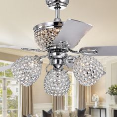 Jasper Silver Lighted Ceiling Fan with Multiple Crystal Lamps (Incl. Remote & 2 Color Options Blades), Gray, Warehouse of Tiffany Ceiling Fan Chandelier, Ceiling Lights, Ceiling Fans, Chandeliers, Pink Chandelier, Ceiling Fan Makeover, Bowl Light, Ceiling Fan With Remote, Cool Floor Lamps