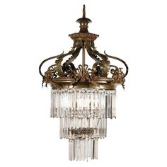 Victorian Crystal and Bronze Chandelier For Sale at 1stdibs