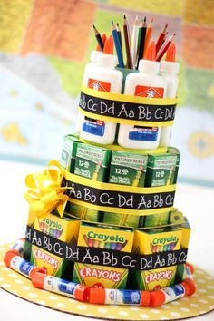 School Supply Cake - An A  Teacher Appreciation Gift