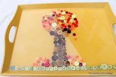 Make a Fall Tray -- use buttons to make a fall scene on a tray then pour on a two part epoxy!
