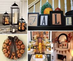 Fall decor by Ammieekay-Love the prints on card stock in frames!! Love the pumpkin wreath and lanterns