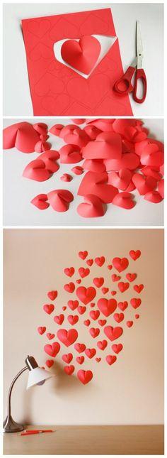 4 wanddeko selber machen wanddekoration ideen 3d roten herzen aus papier