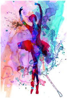 Amazon.com: Ballerina's Dance Watercolor 3 Poster by Irina March 13 x 19in