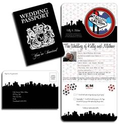 Las Vegas Wedding Invitation created in a Passport style. Colours, images, fonts etc can all be changed by www.DestinationStationery.com