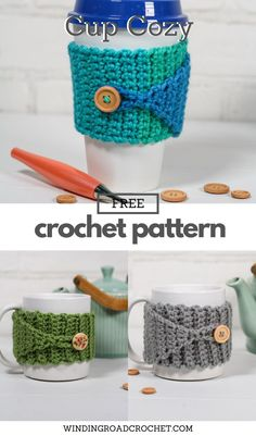 Crochet Coffee Cozy, Crochet Cozy, Quick Crochet, Free Crochet, Beginner Crochet, Easy Things To Crochet, Chevron Crochet, Easy Crochet Projects, Easy Crochet Patterns