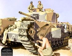 UK TKS Churchill III tank of 'Kingforce' during a break of conflict, the Second Battle of El Alamein, 6th November, 1942