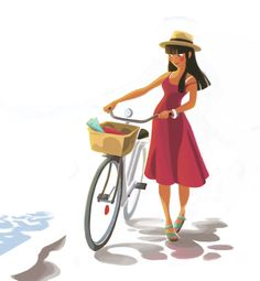 By Caroline Piochon Bicycle Illustration, Cute Illustration, Character Illustration, Cartoon Illustrations, Female Character Design, Character Design References, Character Art, Mode Poster, Bicycle Art