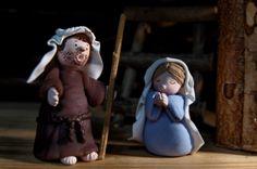 Joseph et Marie, crèche en porcelaine froide, noël
