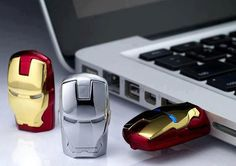 Iron Man - USB Flash Drives. Darling you need one to go with your Captain America one.