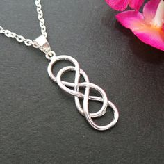 Double Infinity Knot Silver Necklace  Celtic Infinity by yhtanaff, $42.00