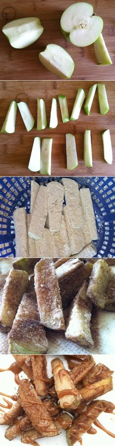 Apples Fries with Cinnamon Ingredients Fresh middle size green apples (2 or 3) 2 cups canola oil 1 cup cornstarch 3 tbs cinnamon ½ cup sugar You can melt some caramel for dipping. Or make your own … (Green Apple Recipes)